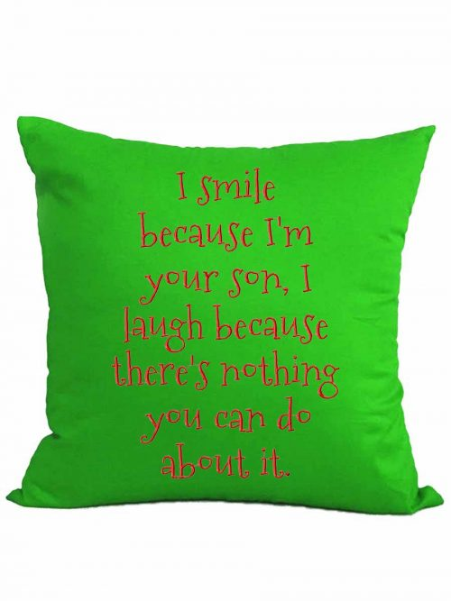 """I smile…"" cushion + insert"