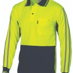 DNC HiVis Cool-Breathe Stripe Polo – long Sleeve- 3756