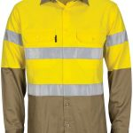 HiVis L/W Cool-Breeze T2 Vertical Vented Cotton Shirt with Gusset Sleeves. Generic Tape – Long sleeve