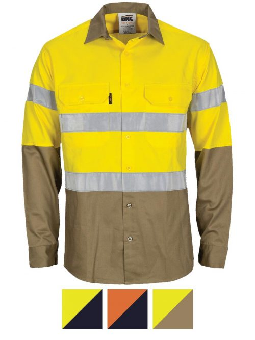 DNC HiVis L/W Cool-Breeze T2 Vertical Vented Cotton Shirt with Gusset Sleeves. Generic Tape – Long sleeve – 3784