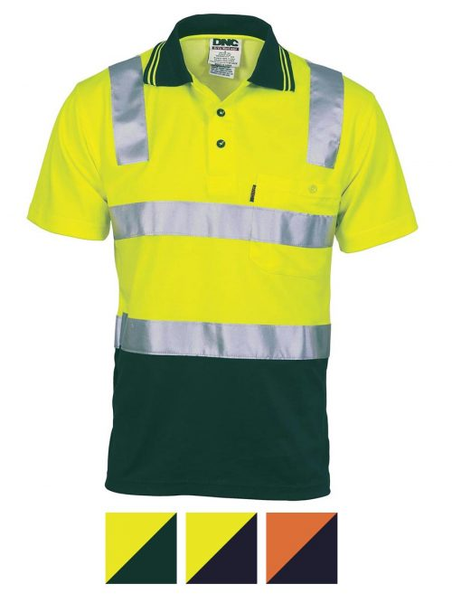 DNC Cotton Back HiVis Two Tone Polo Shirt with CSR R/ Tape – Short sleeve- 3817